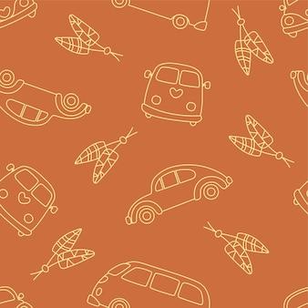 Бесшовный фон из автомобилей и автобусов хиппи с перьями. наброски каракули элементы.