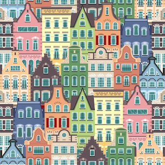 オランダの古い家の漫画のファサードのシームレスなパターン。オランダの伝統的な建築。オランダ風のカラフルなフラットイラスト。