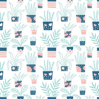 家の植物のシームレスなパターン。生地、壁紙の手描きプリント。