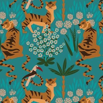 森の中で咲く花のインドのトラのシームレスなパターン