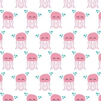 Бесшовные модели медузы подводных животных концепции вектор