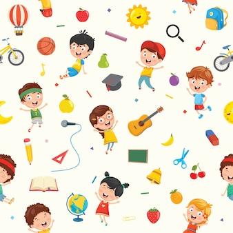 子供とオブジェクトのシームレスなパターン