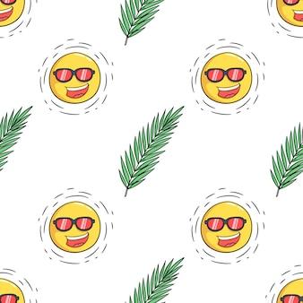 Бесшовные модели листьев и солнца мультфильма для летней концепции дизайна в стиле каракули