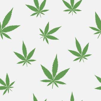 マリファナの葉のシームレスなパターン。大麻の背景。医療草。ベクトルイラスト。