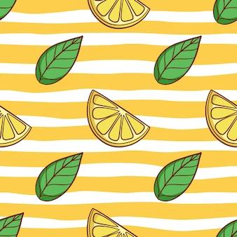 レモンと葉の色の落書きスタイルのシームレスパターン