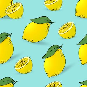 葉とレモンのシームレスパターン