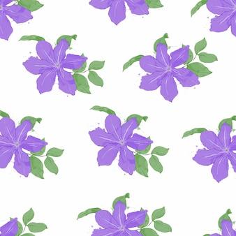 Бесшовный фон из цветов лилии с листьями в стиле акварели