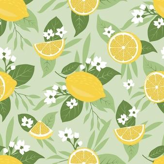 熱帯の葉と美しい花とライムやレモンの自然の背景のシームレスなパターン