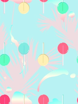 Seamless pattern of lollipop and palm tree leaf