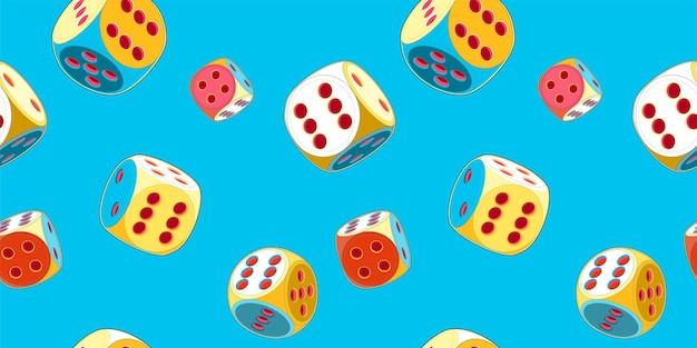 6つのポップアートスタイルのラッキーダイスのシームレスなパターン