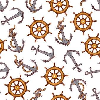 海事シンボルのシームレスなパターン。手描きイラスト