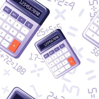 흰색 바탕에 기본 기능 평면 벡터 일러스트와 함께 현대 보라색 작은 계산기의 완벽 한 패턴입니다.