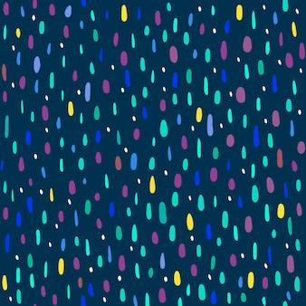 紺色の背景に色とりどりのドットのシームレスなパターン。ベクトルイラスト