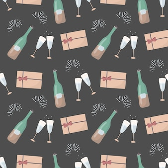新年やロマンチックな休日の装飾のシームレスなパターン。ワインボトルとシャンパングラス、休日、ラブレター付き封筒。