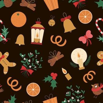 新年のシンボルのシームレスなパターン。装飾やデザインのためのクリスマスフラットスタイルの写真。