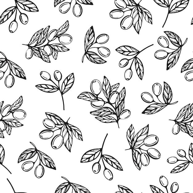 オリーブの枝ベクトルのシームレスなパターン