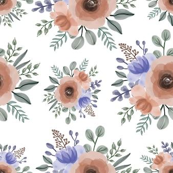 주황색과 보라색 꽃다발의 완벽 한 패턴