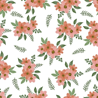 직물 및 배경 디자인을 위한 오렌지 꽃 꽃다발의 원활한 패턴