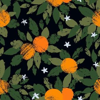 복고풍 빈티지 스타일의 질감 감귤류 오렌지 과일 잎이 있는 오렌지 과일의 원활한 패턴