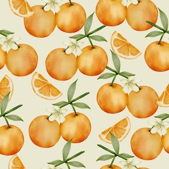 Бесшовный фон из апельсина, полный и разрезанный на кусочки