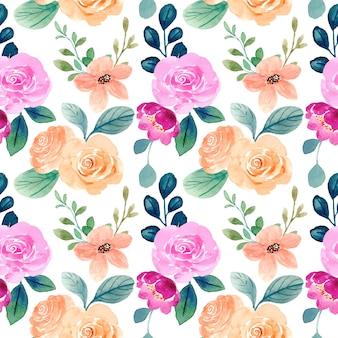 Бесшовный фон из оранжевой розовой розы с акварелью