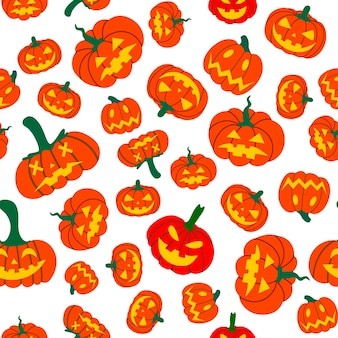 オレンジ色のカボチャベクトルのシームレスなパターン