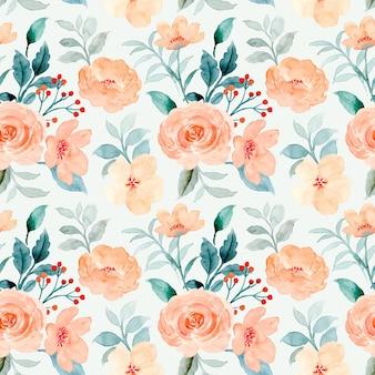 Бесшовный фон из оранжевой розы цветок акварель