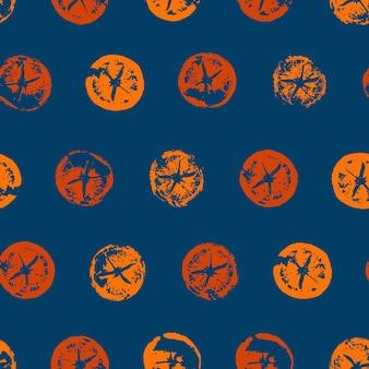 オレンジスライスのシームレスなパターンがモダンなスタイルで印刷されますテクスチャの柑橘系のオレンジ色の果物をカットします