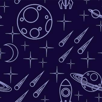 暗い背景にアウトラインスペースアイコン惑星宇宙船、小惑星などのフラットベクトルイラストのシームレスなパターン。