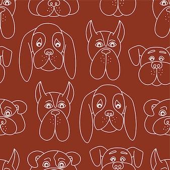 赤い背景の輪郭の白い犬のシームレスなパターン。