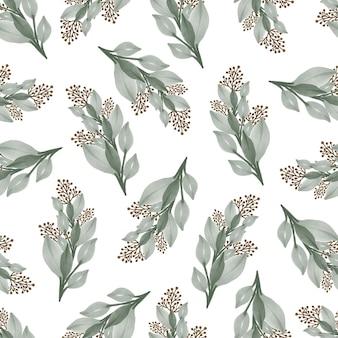 섬유 디자인을 위한 옅은 녹색 야생 식물의 원활한 패턴