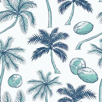손바닥의 완벽 한 패턴입니다. 다양한 종류의 열대 야자수와 코코넛. 컨투어 스케치 배경 흑백 청록색