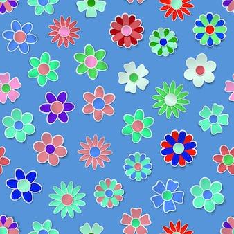 影とさまざまな色の紙の花のシームレスなパターン