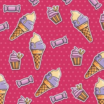 Бесшовный патч с мороженым