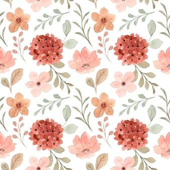 Бесшовный фон из персикового цветка с акварелью