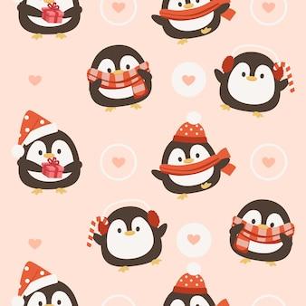 Бесшовный фон с пингвином и сердечками