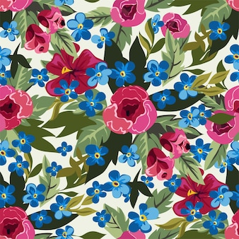 花、赤と青の花の牡丹のシームレスなパターン。