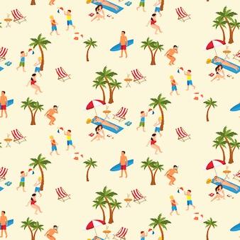 Бесшовный фон из людей на пляже
