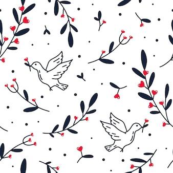 花とハートと鳩のシームレスなパターン
