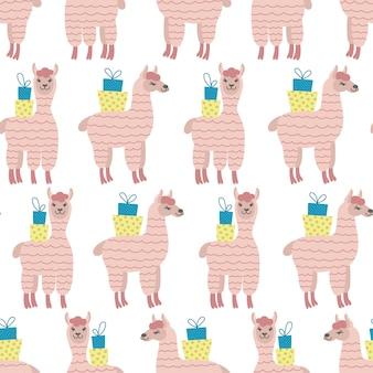 흰색 바탕에 선물 상자가 있는 분홍색 알파카의 매끄러운 패턴입니다. 아기 천, 벽지, 포장지, 가정 장식에 이상적입니다.