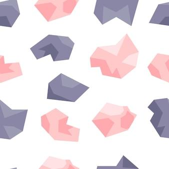 ピンクとライラックのクリスタルのシームレスなパターン。宝石、ダイヤモンド、白い背景の上の宝石。手描きイラスト