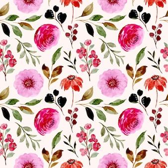 Бесшовный фон из розовых цветочных акварелей