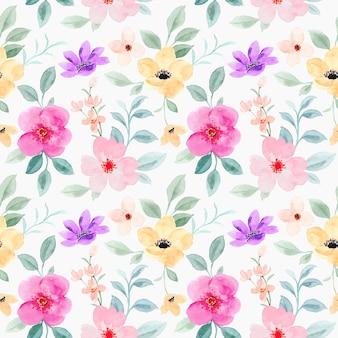 ピンクの花の水彩画のシームレスなパターン