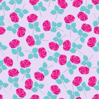ピンクの花のバラと葉のシームレスなパターン。フラットベクトルイラスト。