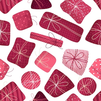 Бесшовные модели розовых подарков. текстура штрихов. рождество или день рождения безграничный фон.