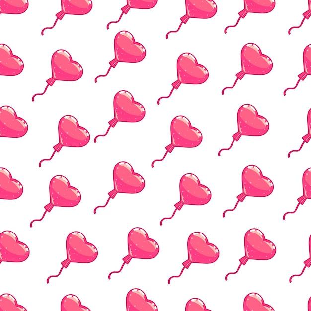 핑크 하트 풍선의 완벽 한 패턴입니다. 발렌타인 데이