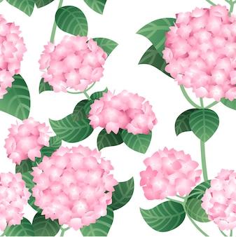 녹색 줄기와 잎 평면 벡터 일러스트와 함께 분홍색 수국 꽃의 원활한 패턴