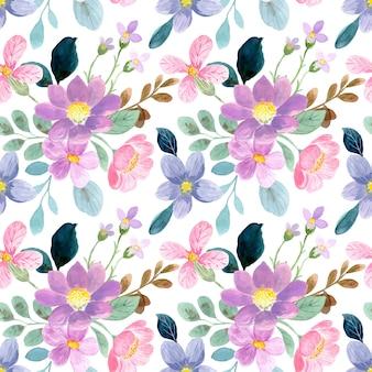 Бесшовный фон из розовых фиолетовых диких цветочных акварелей
