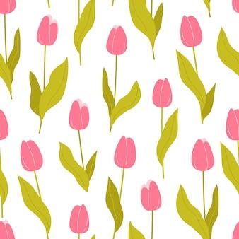 Бесшовный фон из розовых тюльпанов на белом фоне векторные иллюстрации в плоский