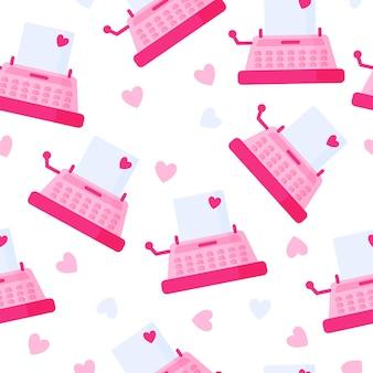 愛のメッセージとピンクのヴィンテージタイプライターのシームレスなパターン
